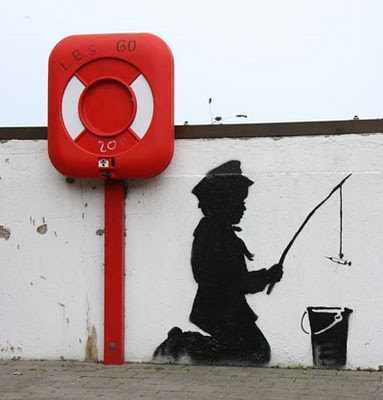 Banksy Graffiti, kid with syringe piccola