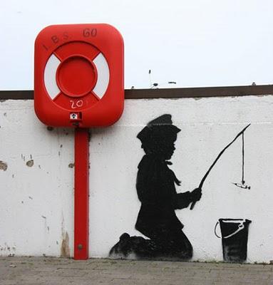 Banksy Graffiti, kid with syringe piccola