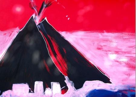 vulcano-painting-esplosione-rossa-loredana-salzano
